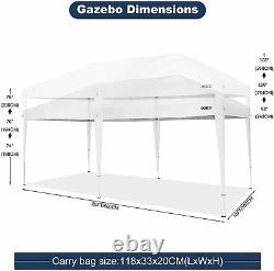 Gazebo Marquee Tente De Fête Avec Côtés Étanche Jardin Patio Canopy 3x6m Blanc