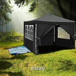 Gazebo Marquee Tente De Fête Avec Côtés Étanche Jardin Patio Extérieur Canopy 3x3m