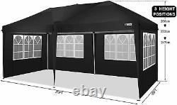 Gazebo Marquee Tente De Fête Avec Côtés Étanche Jardin Patio Extérieur Canopy 3x6m