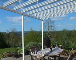 Glass Clear Abri D'autoport Couverture De Patio Se Pencher Sur Le Jardin Auvent Fixe Aluminium