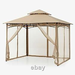Jardin Extérieur Gazebo 2,5x2,5m Avec Filetage Pour Patios Double Toit Soft Canopy