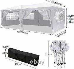 Jardin Gazebo Marquee Party Market Tente Patio Shade Outdoor Canopy 3x6m Blanc Royaume-uni