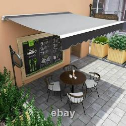 Jardin Patio Auvent Canopy Manuel Retractable Shelter Sun Shade Grey 3 Tailles Uk