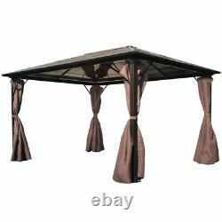 Jardin Patio Gazebo Tent Party Bbq Canopy Avec Rideau Brun Aluminium 4 X 3 M