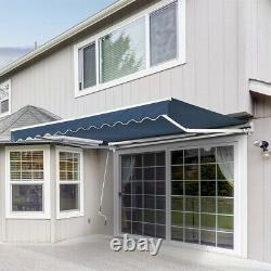 Jardin Patio Retractable Manual Auvent Shop Navy Blue Canopy Sun Shade Shelter