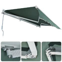 L XL Retractable Canopy Auvent Patio Garden Sun Shade Outdoor Green Manuel