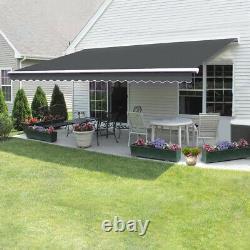 Nouveau 3x2.5m Auvent Manuel Rétractable Jardin Canopy Patio Sun Shade Shelter Grey