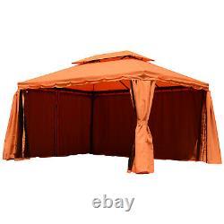 Outsunny Garden 3 X 4 M Aluminium Gazebo Marquee Canopy Pavilion Patio Orange