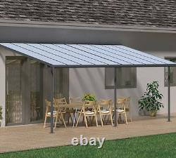 Palram Sierra Patio Couverture Canopy Porc Porte Pergola Gutter Canopies Gris Nouveau
