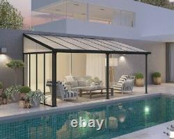 Palram Tuscany Patio Cover Grey Aluminium Porch Door Canopy Pergola In 3 Sizes
