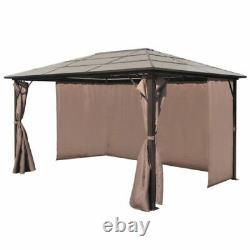 Patio Extérieur Canopy Party Gazebo Shelter Hardtop Avec Maille Et Rideaux 400/300cm