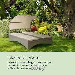 Sun Bed Lounger Garden Patio Baldaquin Extérieur Lit De Jour Inclinable Rattan Taupe