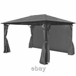 Vidaxl Gazebo Avec Rideau Anthracite Aluminium Patio Canopy Marquee Shelter