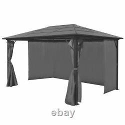 Vidaxl Gazebo Avec Rideau Anthracite Aluminium Patio Canopy Marquee Shelter 4m