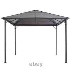 Vidaxl Gazebo Avec Toit En Aluminium 3x3m Black Patio Party Tente Canopy Shelter