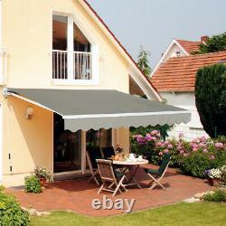 XL Manuel Rétractable Patio Auvent Deep Grey Garden Sunshade Outdoor Canopy Café